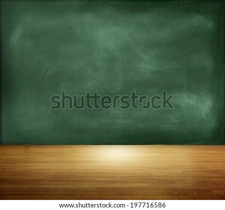 Textured Blackboard on an Empty Room - stock photo