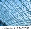textured blue ceiling inside airport - stock photo