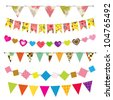 Textured bunting and garland set. Raster version - stock photo