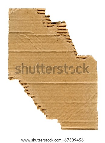 Textured cardboard with torn edges isolated on white - stock photo