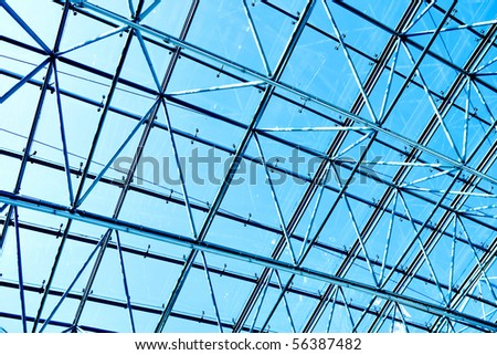 textured ceiling inside shopping mall - stock photo