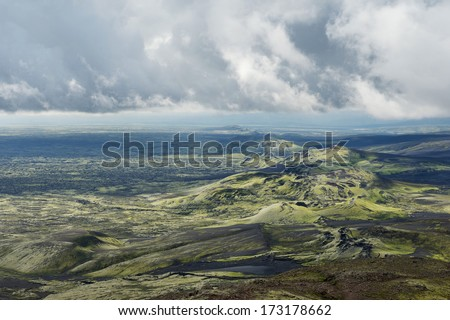 Textured clouds over hills and craters at Lakagigar area, Iceland - stock photo