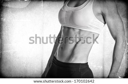 Textured Female Body Builder - stock photo