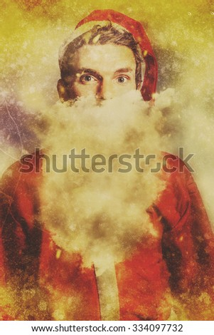 Textured fine art fantasy portrait of a old fashioned santa claus dreaming of a white christmas with cloudy beard. Vintage christmas dreams - stock photo