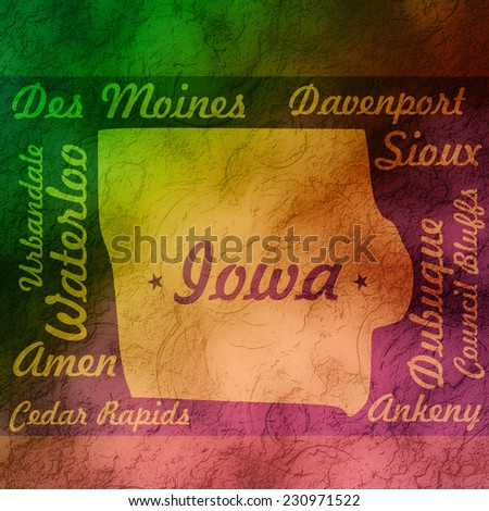 textured gradient outline iowa state map with cities names - stock photo