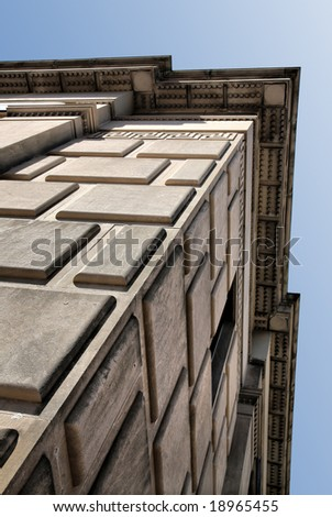 Textured Granite Block Building(Release Information: Editorial Use Only. Use of this image in advertising or for promotional purposes is prohibited.) - stock photo