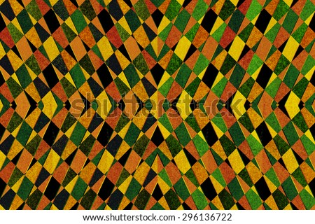 Textured green, yellow and orange striped pattern background - stock photo