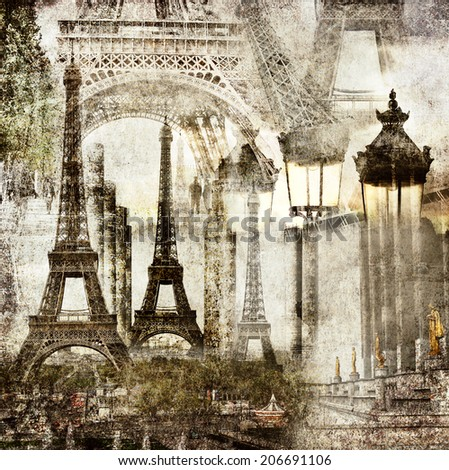 Textured grunge paper background with Paris Eiffel Tower different profiles architecture vintage style