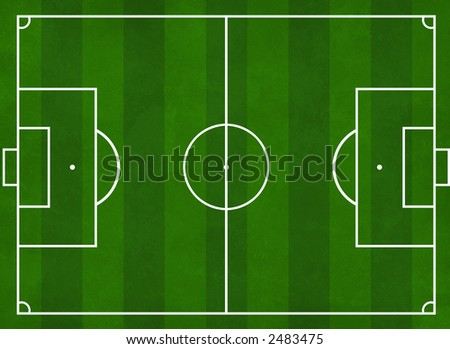 Textured illustration of a football pitch with green stripes - stock photo