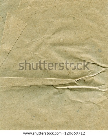 Textured obsolete crumpled packaging brown paper background - stock photo