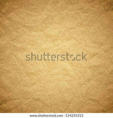 Textured obsolete crumpled packaging brown paper background or texture - stock photo