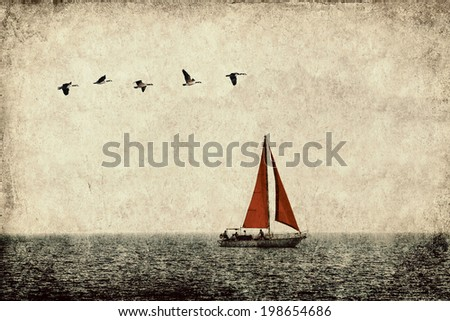 Textured old grange paper background with red sail yacht in the sea and flying birds - stock photo