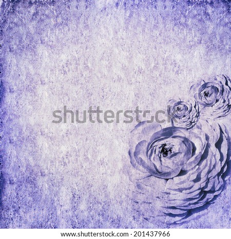 Textured old paper background with flowers . Copy space is available  - stock photo