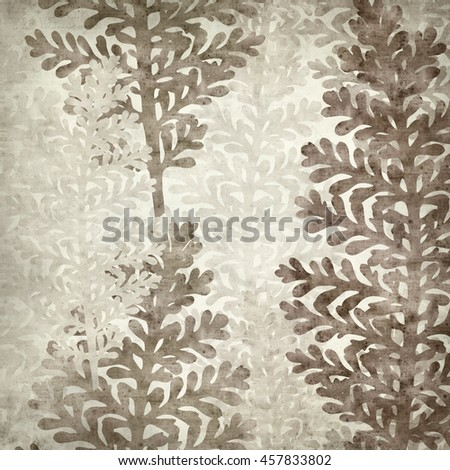 textured old paper background with leaves of silver lace plant