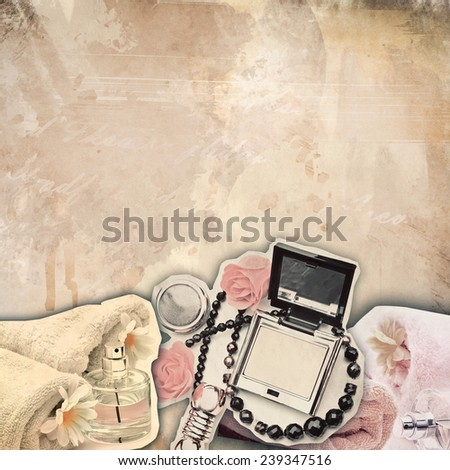 textured old paper background with spa and make up objects - stock photo