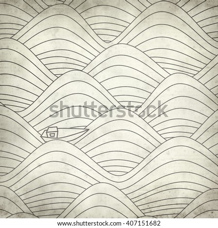 textured old paper background with waves and boats pattern - stock photo