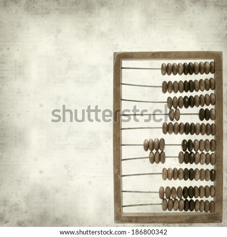 textured old paper background with wooden abacus - stock photo