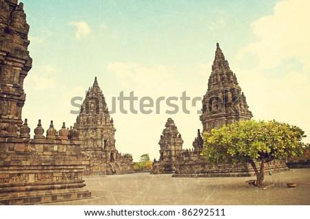 textured old photo of Hinduism Prambanan temple - stock photo
