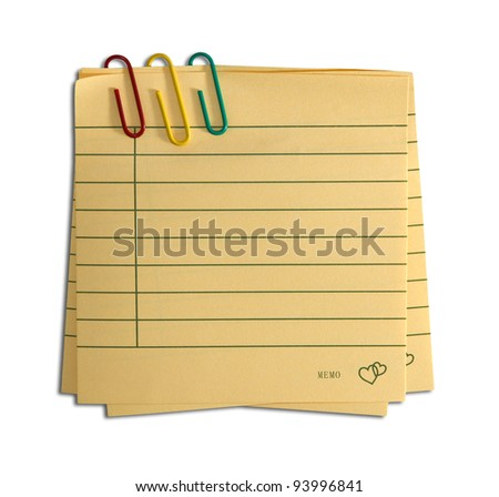 textured paper notes with red clip - stock photo