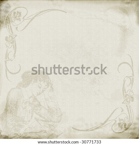 Textured parchment look paper with distressed edges and vintage woman writing faded into design.