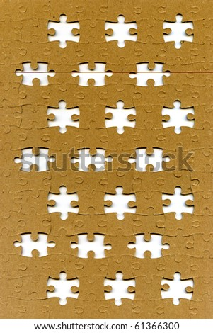 textured puzzle with missing pieces - stock photo