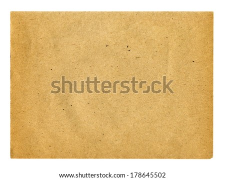 Textured recycled aged paper with natural fiber parts isolated - stock photo