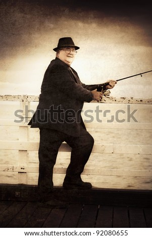 Textured Retro Photo Of A Retired Olden Day Skipper Fishing Off The Side Of A Bridge During A Seaside Recreational Activity
