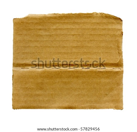 Textured ribbed recycled cardboard isolated on white