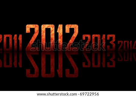 Textured row of years with reflections on black background (theme of 2012 year) - stock photo
