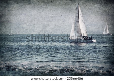 textured sailboats on water - stock photo