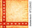 Textured scrap-book background with hearts and curls. - stock photo