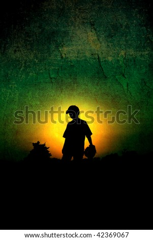 Textured Silhouette of Young Boy Playing Baseball - stock photo