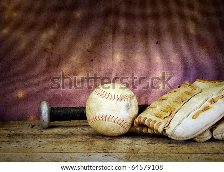 Textured soft focus baseball bat ball and mit on vintage table with bokeh antique feel - stock photo