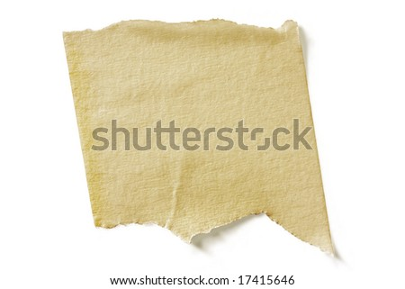 Textured torn masking tape, casting natural shadow on white surface.  Clipping path included.