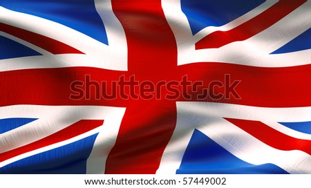 Textured UNITED KINGDOM cotton flag with wrinkles and seams - stock photo