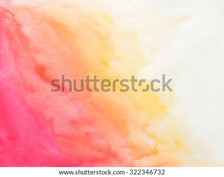 textured watercolor background paper with pink orange and yellow color paint splashes - stock photo