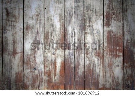 Texturing of aged white paint on old wooden wall, with darkened photo edges./ White Paint Texturing on Vintage Wood - stock photo