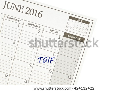 TGIF June 2016 Calendar Close Up