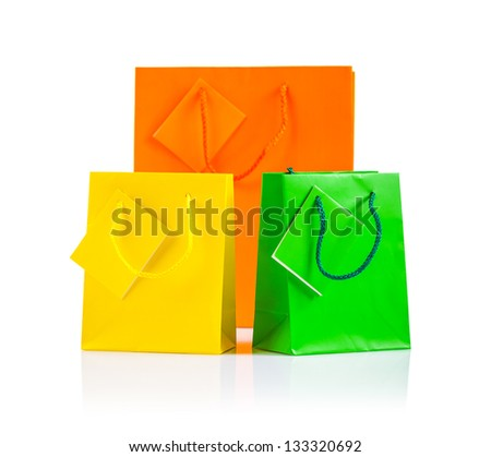 tgree paper bags isolated