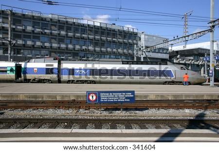 TGV high speed international train service between Switzerland and France, seen at its destination Geneva/Switzerland - stock photo
