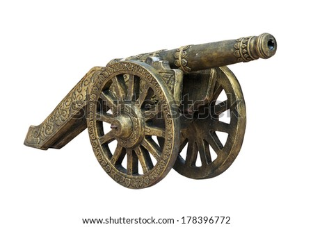Thai ancient cannon isolated on white background. - stock photo