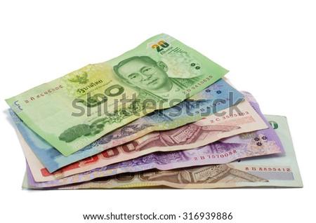 Thai 1000 , 500 , 100 , 50 and 20 baht banknotes , Thai money - stock photo