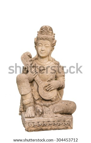 thai angle statue on white isolated background
