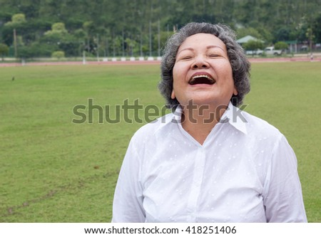 Thai asian grandmother smile and show happy life - stock photo