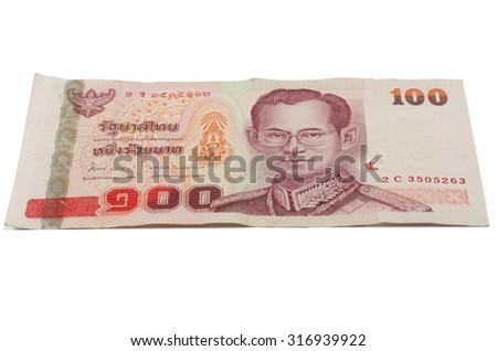 Thai 100 baht banknotes , Thai money - stock photo