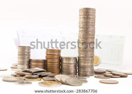 Thai baht Coins, saving account passbook, Book bank statement isolated on white background - stock photo