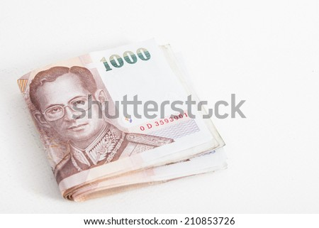 Thai Banknote of 1000 Baht  on white paper background - stock photo