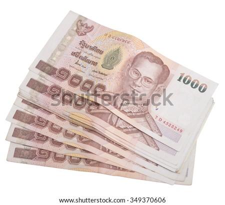 Thai banknotes 1000 baht isolated on white - stock photo