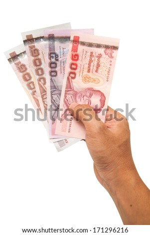 Thai Banknotes In Hand Isolated