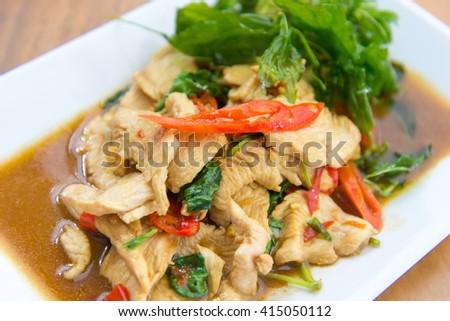 thai basil pork stir fry - stock photo